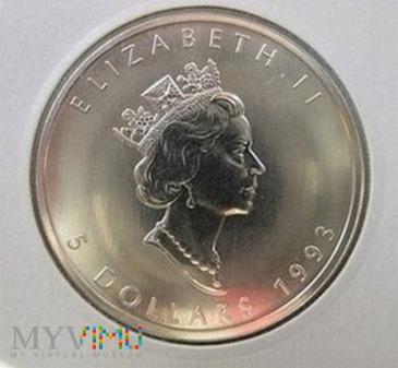 Duże zdjęcie 5 dolarów 1993 r. Kanada