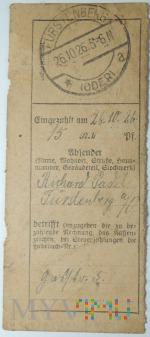 Dowód wpłaty, przelewu Fürstenberg (Oder) 1926