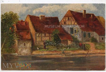 Widok wiejski - Domy nad rzeką Ilm - 1928