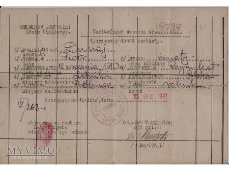 Tymcz.Dowód Osobisty-Dobrzyniewo 1941.
