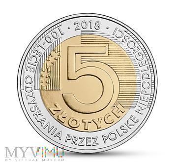 5 zł 100 L odzyskania przez Polskę niepodległości