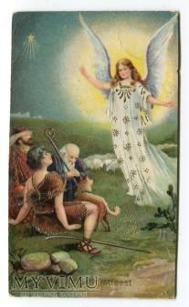 Anioł i pasterze WESOŁYCH ŚWIĄT życzenia Belgia