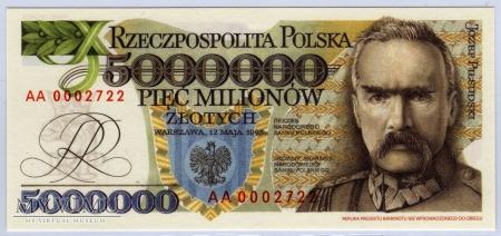 """Duże zdjęcie MC xx - 5000000 Złotych - 1995 - seria """"AA"""""""