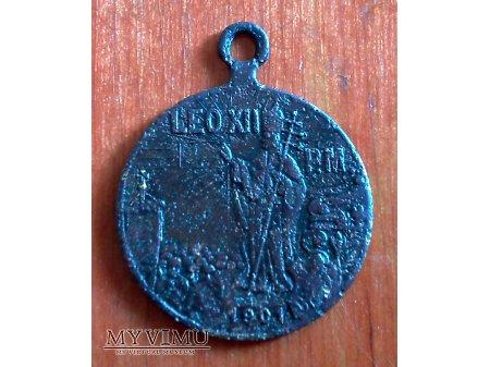 Stary medalik z papieżem Leonem XIII z1901 r. nr.1