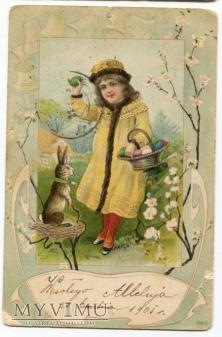 1905 Wielkanoc pocztówka Płock chromolitografia