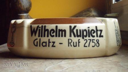 Popielniczka reklamowa Wilhem Kupietz Glatz