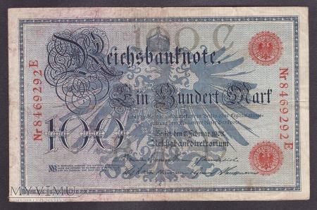 Niemcy, 100 marek 1908r. Ser.E