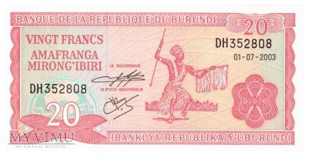 Burundi - 20 franków (2003)