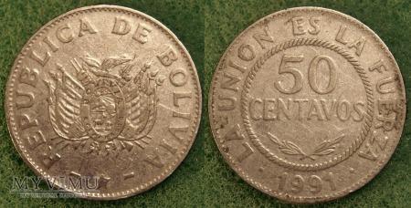 Boliwia, 50 CENTAVOS 1991