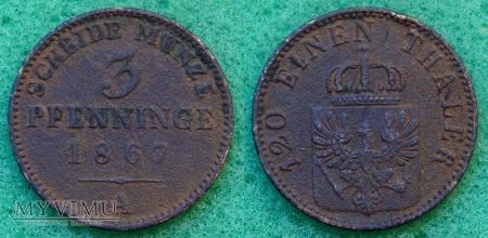 Niemcy, 1867, 3 Pfenninge