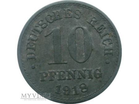 10 Pfennig, 1918 rok.