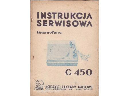 Instrukcja obsługi gramofonu G-450