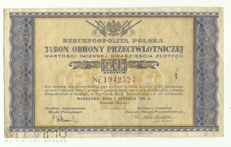 Duże zdjęcie Bony Obrony Przeciwlotniczej 3% 1939