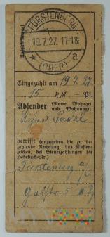 Dowód wpłaty, przelewu Fürstenberg (Oder) 1927