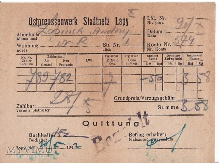 Rachunek za prąd-Łapy 1942.
