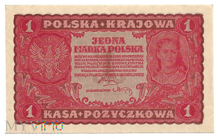 Duże zdjęcie Polska - 1 marka 1919r. UNC Kolekcja Lucow