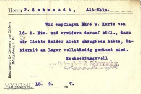 Schmakiet & Schumaeer Konigsberg 1917 r.