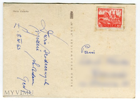1963 Wesołych Świąt PRL Maria Uszacka Marzanna