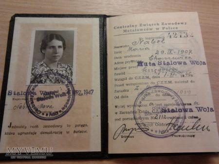 Duże zdjęcie Huta Stalowa Wola legitymacja 1947 r.