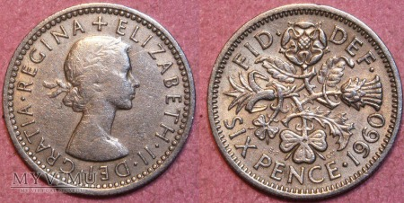 Wielka Brytania, SIX PENCE 1960