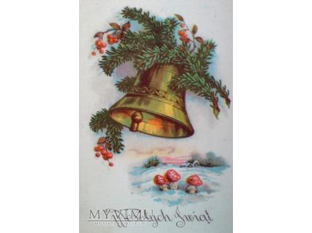 Wesołych Świąt Dzwonek Świąteczny muchomory