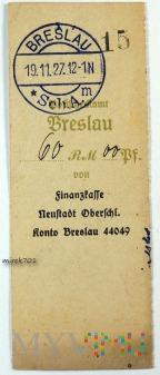 Dowód wpłaty, przelewu Breslau 1927