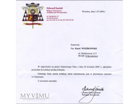List od Biskupa Edwarda Janiaka