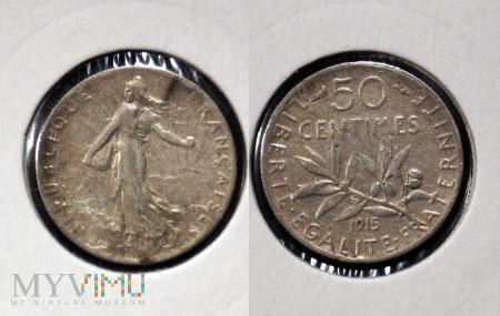 Francja, 50 centimes 1915