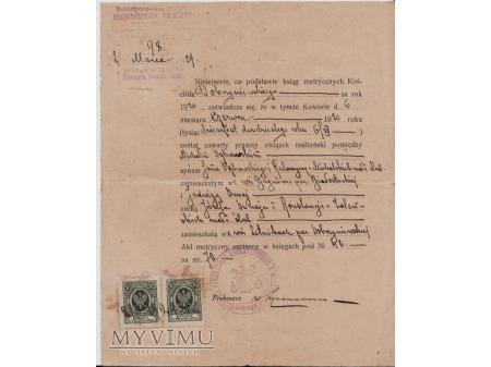 Świadectwo ślubu-Dobrzyniewo 1929.