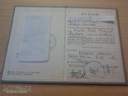 Dyplom mistrza Huta Stalowa Wola 1982 r.