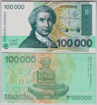 Chorwacja, 100 000 Dinarów 1993r