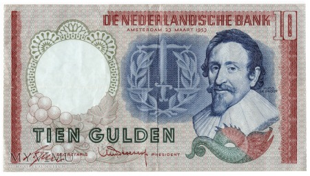 Holandia - 10 guldenów (1953)