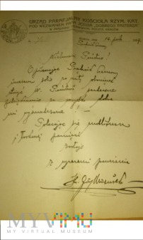 List proboszcza ks. J. Mazurka 1929