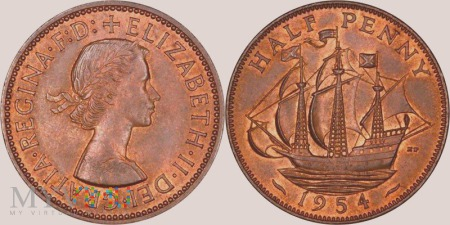 Wielka Brytania, half penny 1954
