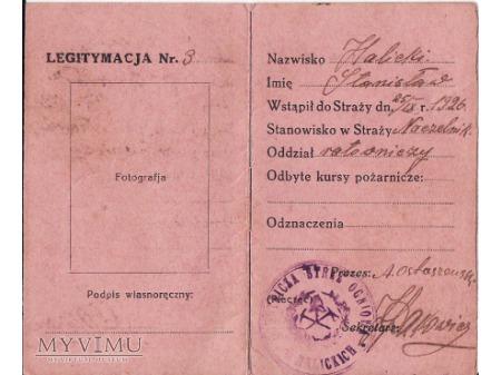 Legitymacja O.S.P.-Halickie 1926.
