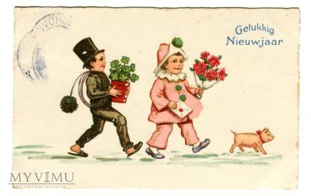 1931 Kominiarczyk Mały Pierrot i Świnka Nowy Rok