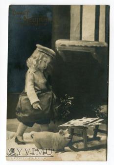 Duże zdjęcie Pocztówka NOWY ROK świnka i dziecko torba