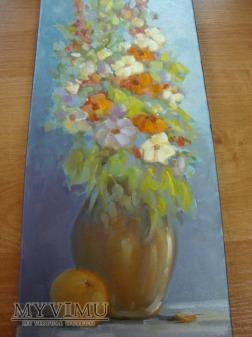 kwiaty 20x50 Cezary Garbowicz olej