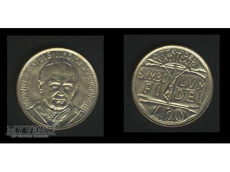 20 lirów IOANNES PAVLUS II P.MAX. MCMXCIII