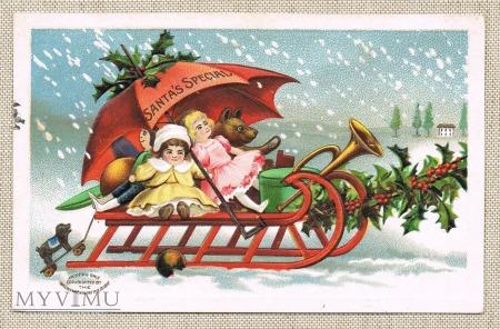 Duże zdjęcie 1907r. Wyjątkowe Mikołaje lalki i misio na sankach