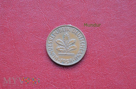 Moneta niemiecka: 2 pfennig 1958