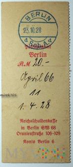 Dowód wpłaty, przelewu Berlin 1928