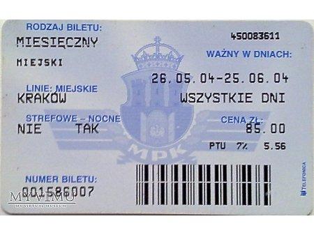 Bilet MPK Kraków 37