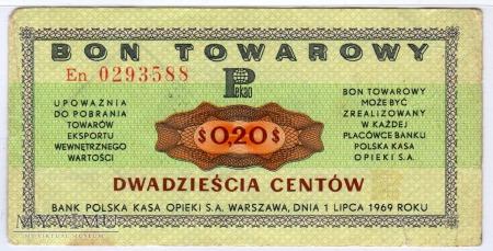 Bon Towarowy PeKaO - B15a - 20 Centów - 1969