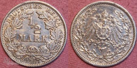 Niemcy, 1907, 1/2 MARKI