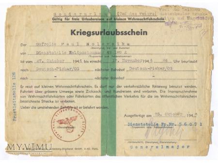 Karta urlopowa żołnierza Wermachtu