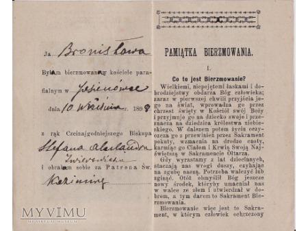 Pamiątka bierzmowania-Jasionówka 1898.
