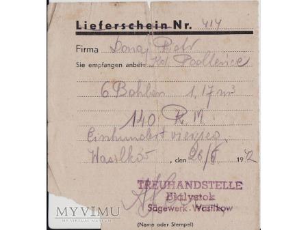 Pokwitowanie dostawy-Wasilków 1942.