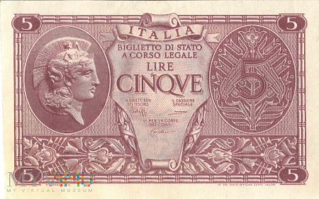 Włochy - 5 lirów (1944)