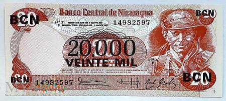 Duże zdjęcie Nikaragua 20 000 cordobas 1987